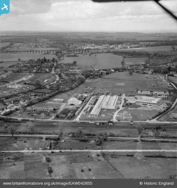 Photograph of The Dottridge Brothers Ltd Coffin Factory at Marshmoor and environs, Welham Green, from the north-east, 1952. This image was marked by Aerofilms Ltd for photo editing. Courtesy of the Britain From Above project