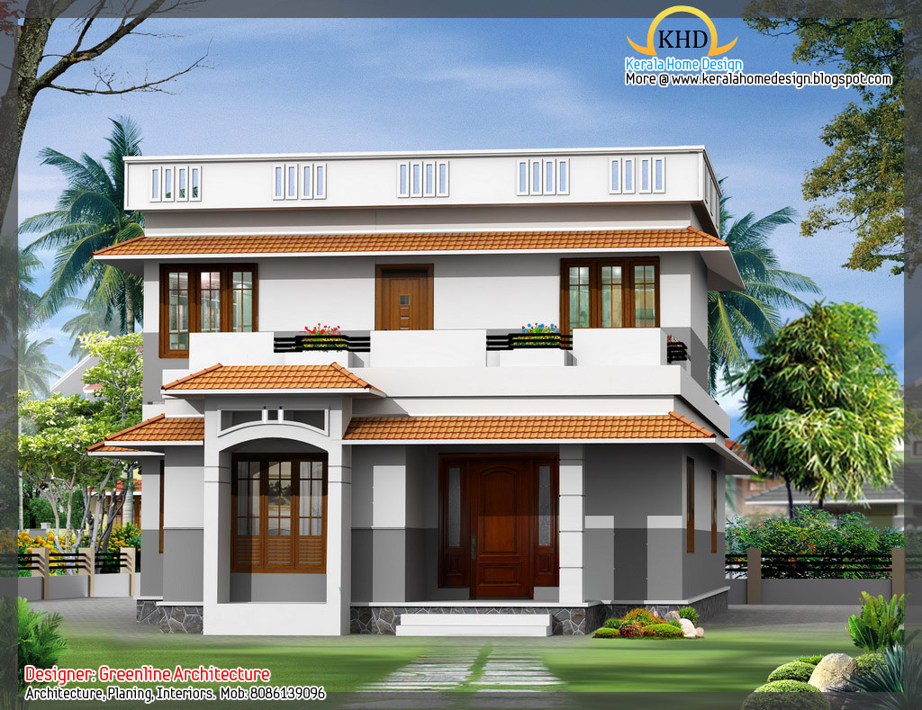 16 awesome house elevation designs kerala home design for Home plan 3d