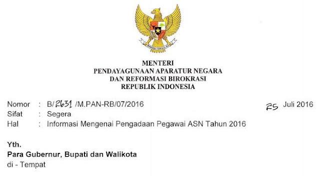 gambar surat menpan tentang info cpns 2016