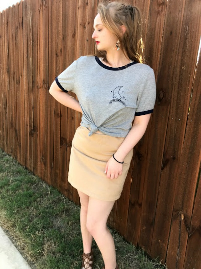 Graphic Tee And Skirt Outfit