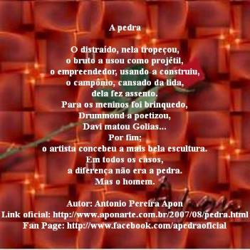 A pedra. Poema de Antonio Pereira Apon.