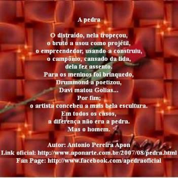 A pedra. Poema de Antonio Pereira Apon.