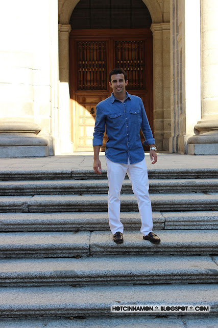 white pants & denim shirt outfit