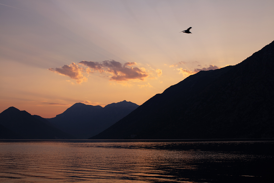 Kotor, Kotor bay, Montenegro, sunset