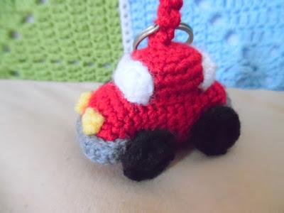 Crochet amigurumi little red car keychain