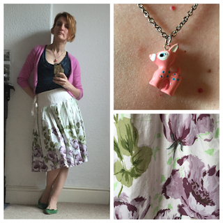 Pink cardigan and 50s retro print skirt