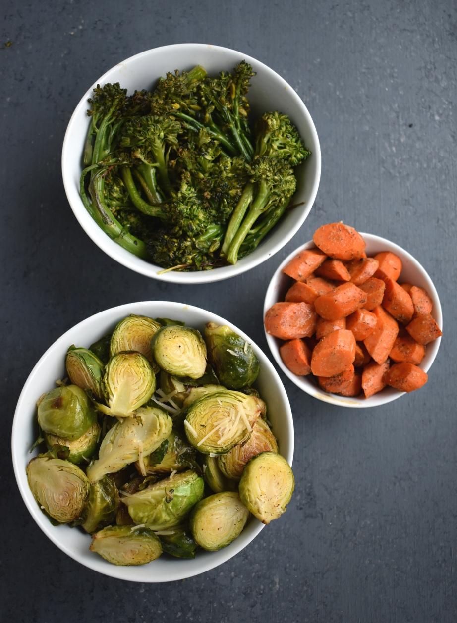 3 Easy Vegetable Side Dishes are perfect when you need a quick healthy side dish! These include Asian Roasted Broccoli, Dijon Roasted Carrots and Garlic, Lemon Parmesan Brussels Sprouts. www.nutritionistreviews.com