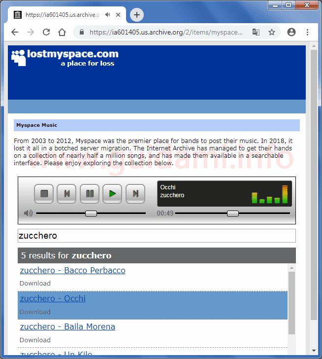 Google Chrome mediaplayer Lostmyspace per trovare, ascoltare, scaricare 1,3 TB di musica di MySpace andata perduta