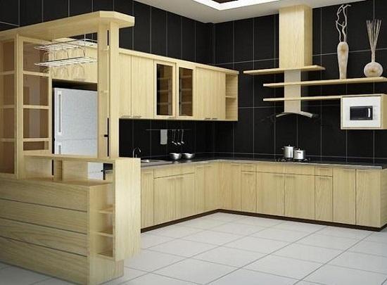 Mẫu Tủ bếp gỗ Sồi Nga Sang trọng