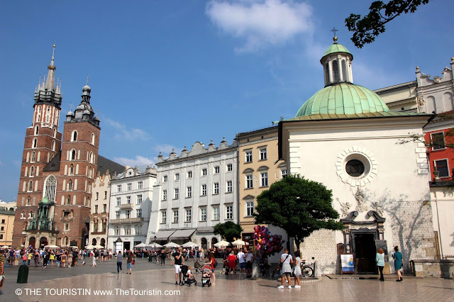 St Mary's Basilica on the Main Square in Krakow's Old Town in Poland.