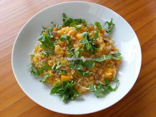 Risotto alla zucca con rucola - Pumpkin risotto with arugula