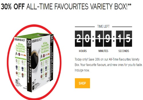 Keurig Daily Deal 30% Off All-Time Favourites Variety Box
