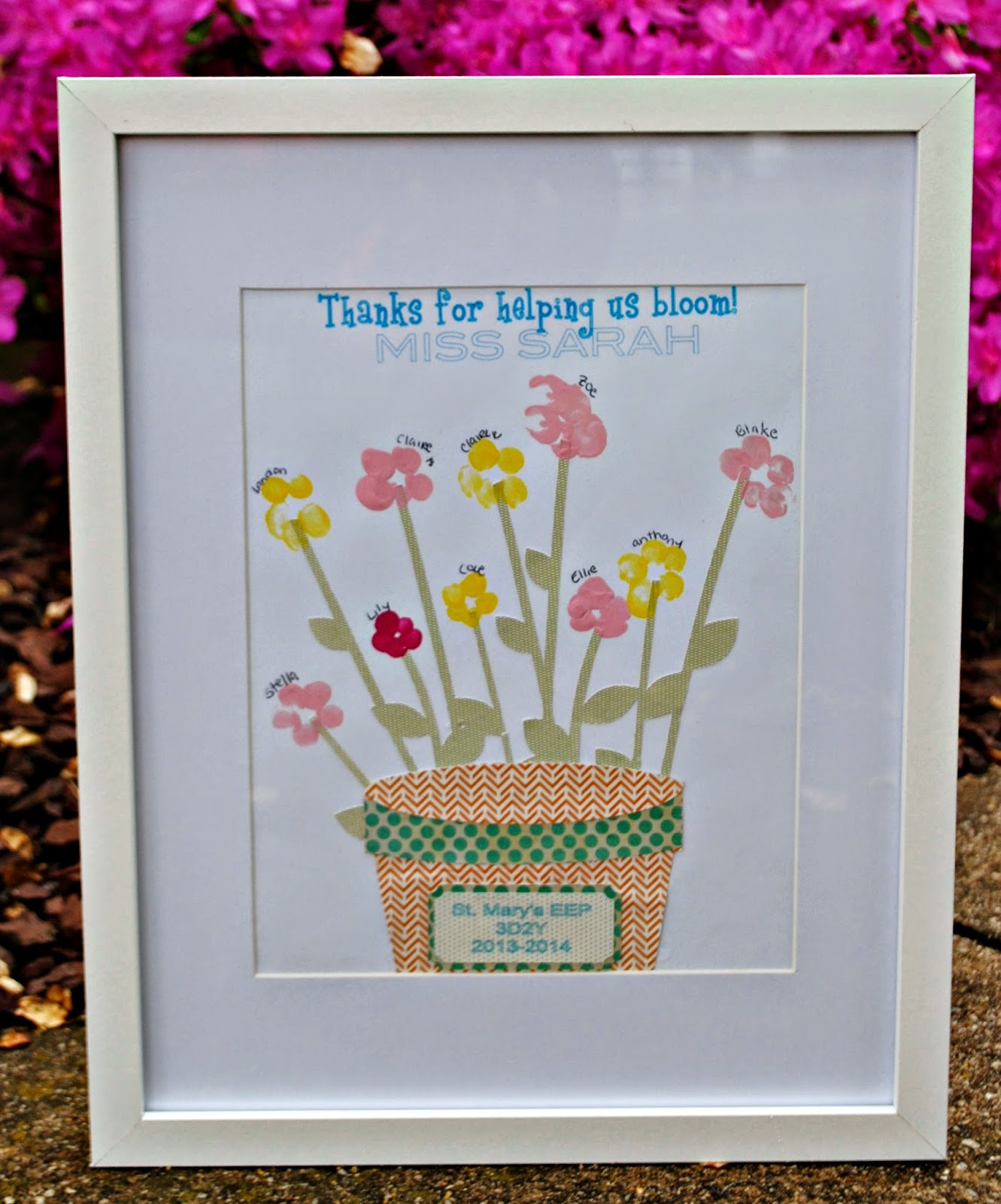 Do it yourself, DIY, teacher gift, flower pot, thumbprint