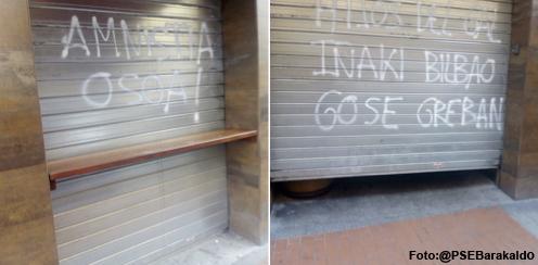 Realizan pintadas en favor de un preso de ETA en la sede del PSE de la calle Arrandi