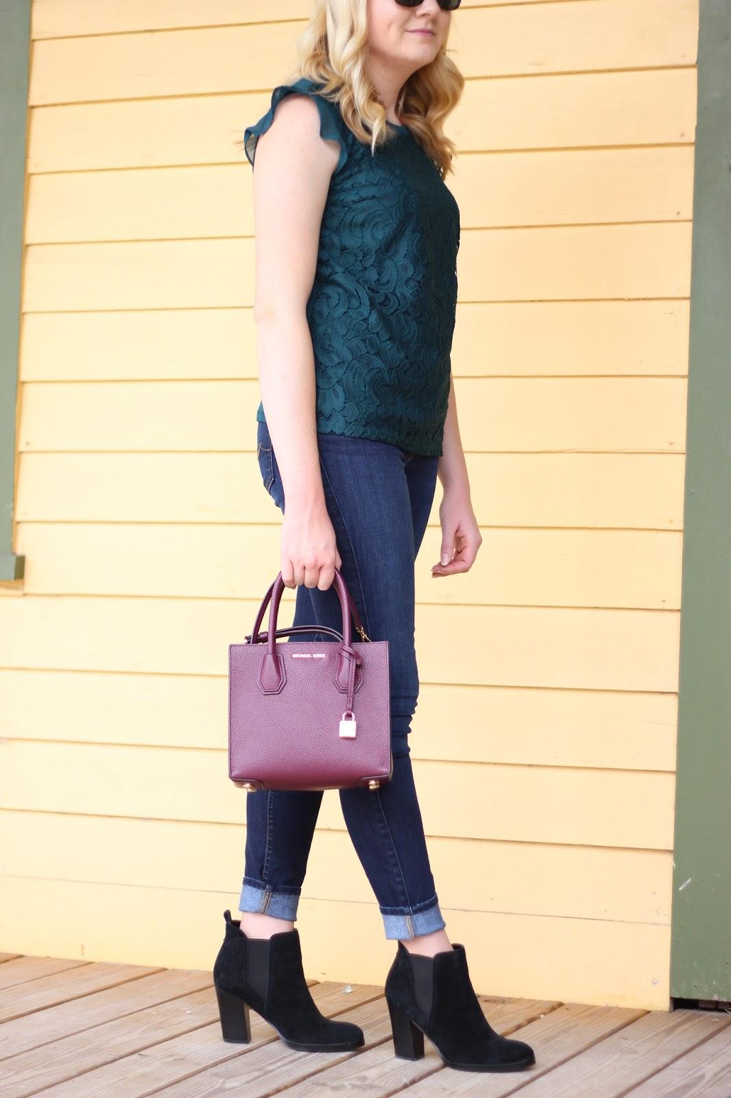 Fall Green Crochet Lace Top