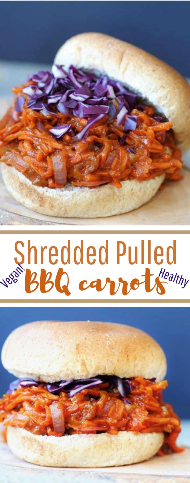 Shredded Pulled BBQ carrots #healthy #vegetarian
