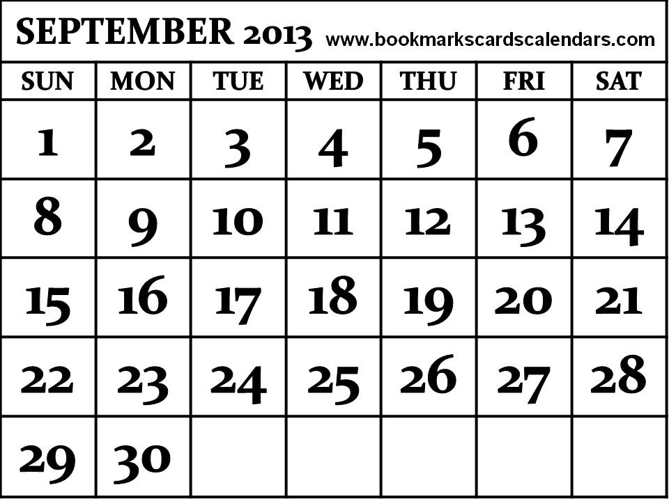 Free Calendars 2014, Bookmarks, Cards: 2013 September Calendar - 2
