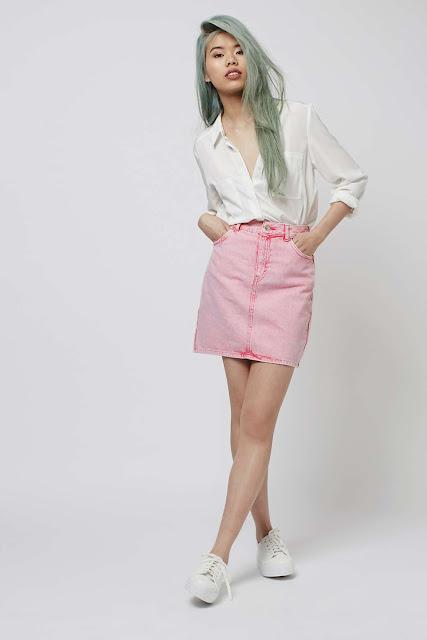 pink denim skirt,