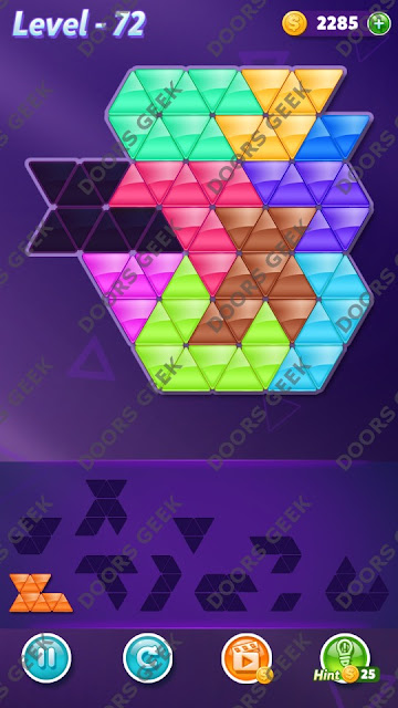 Block! Triangle Puzzle Master Level 72 Solution, Cheats, Walkthrough for Android, iPhone, iPad and iPod