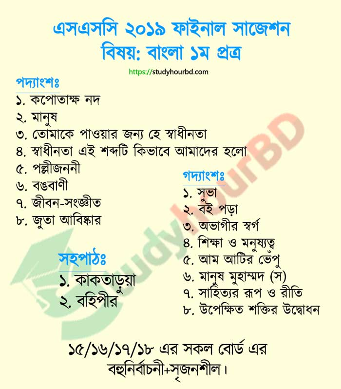 SSC Bangla 1st Paper Suggestion 2020
