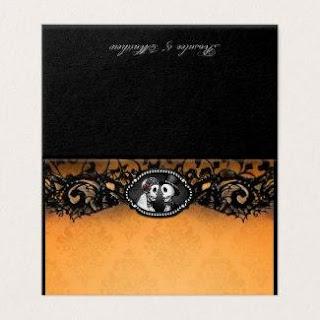 Bride Groom Skeletons Orange & Black BLANK FOLDING Place Card