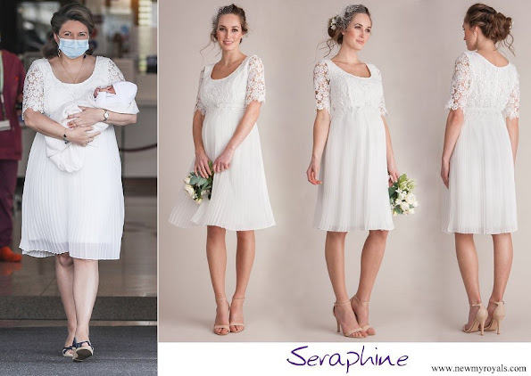 Princess Stephanie wore Serephine Ivory Lace Top Pleated Maternity Dress