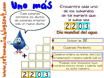 Sumas, Retos matemáticos, Reto del Uno más, Uno más, Encuentra los números