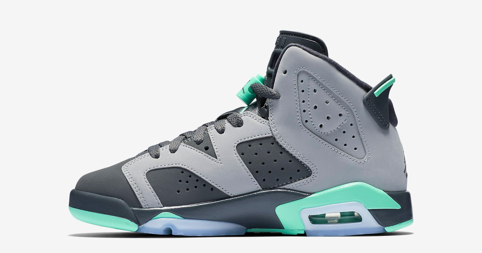 new style 8edc2 a34d8 ajordanxi Your  1 Source For Sneaker Release Dates  Girls Air Jordan 6  Retro GG Cement Grey Green Glow-Dark Grey-Green Glow Release Reminder