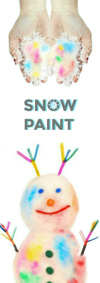 2-INGREDIENT SNOW PAINT FOR KIDS- a must try Winter activity for kids!!  #snowpaint #wintercraftsforkids #kidscrafts