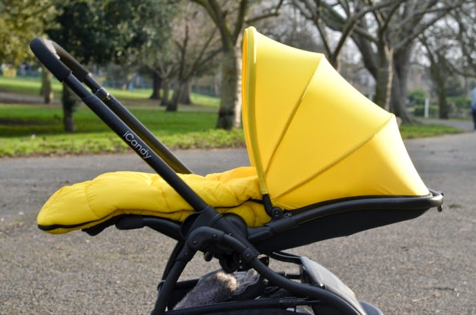 iCandy raspberry, black and yellow pushchair, black and yellow buggy, iCandy lie flat.