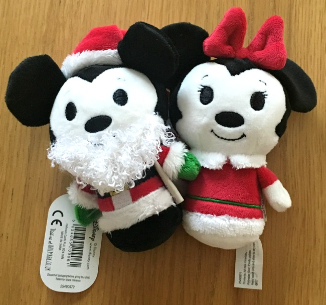 Hallmark-itty-bittys-Christmas-mickey-mouse-with-white-beard-and-minnie-mouse-both-in-red-jackets-with-white-fur-trim-and-Christmas-hats