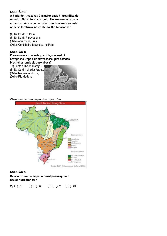 Prova de Geografia 5 Ano para Imprimir