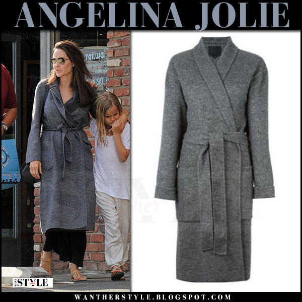 Angelina Jolie in grey wool coat alexander wang july 15 2017 celebrity street style