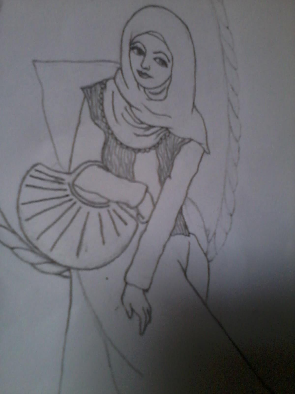 Gambar kartun muslimah dengan pensil kolek gambar