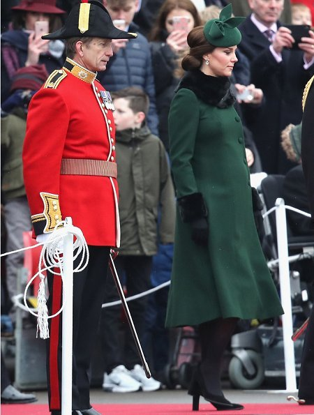 Kate Middleton wore green Catherine Walker coatTod's Suede Pumps and KIKI McDonough Green Tourmaline and Green Amethyst Oval Drop Earrings