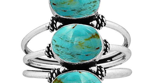 9.80ct, Genuine Turquoise 8x10mm Oval & .925 Silver Overlay Handmade Fashion Rings at Amazon.com