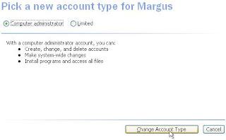 Windows XP, Comptes d'utilisateurs, Choisissez un nouveau type de compte. Sélectionnez le type de compte que vous souhaitez et cliquez sur le bouton «Modifier le type de compte».