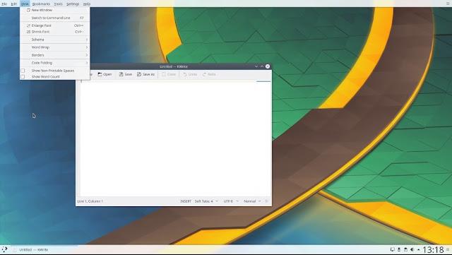 KDE menus globais