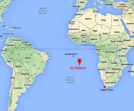 Saint Helena adası haritada nerede