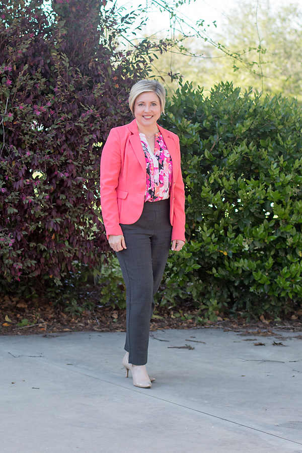 coral and grey work outfit