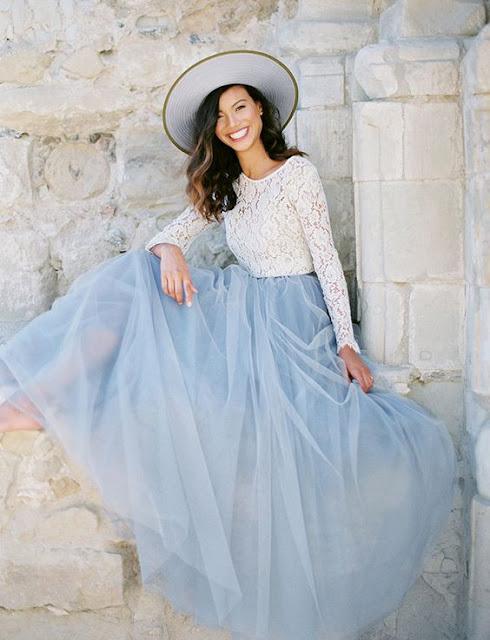 novia azul serenity falda tul