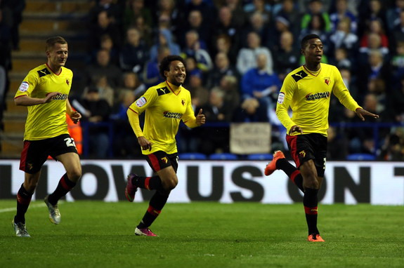 Nathaniel Chalobah celebrates with Watford teammates after scoring against Leicester