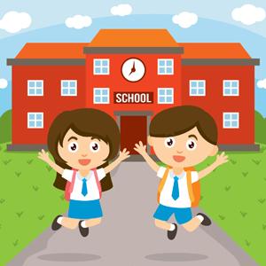 Free Download Vektor Happy Children At School