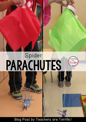 Second Grade STEM: Build a parachute to help a spider fly! Check this blog post for book suggestions and a materials list!