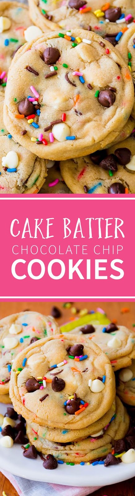 These Cake Batter Chocolate Chip Cookies are a cross between delicious, soft-baked chocolate chip cookies and sprinkle filled funfetti cake #funfetti #cake #chocolate #chip #chocolatechip #cookies #dessert