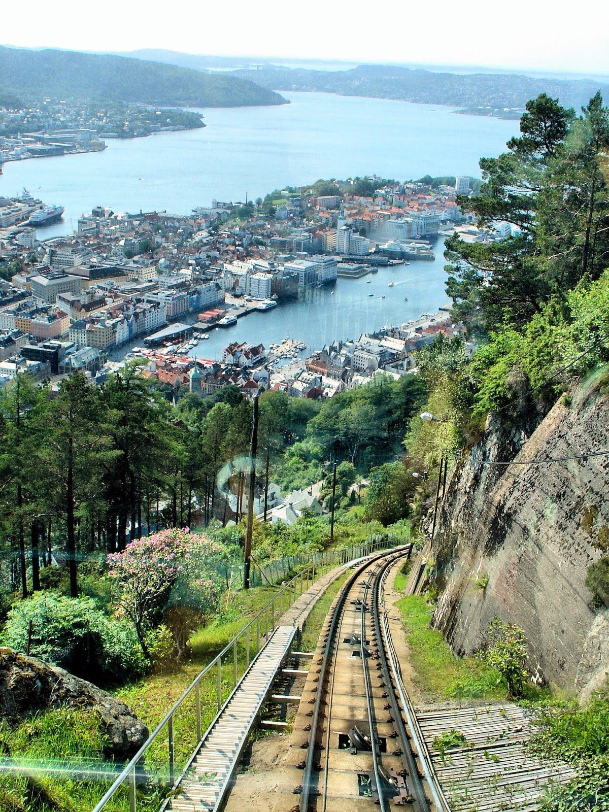 All aboard the Fløibanen funicular! To the top of Mt. Fløyen we go! Photo is the property of EuroTravelogue™. Unauthorized use is prohibited.