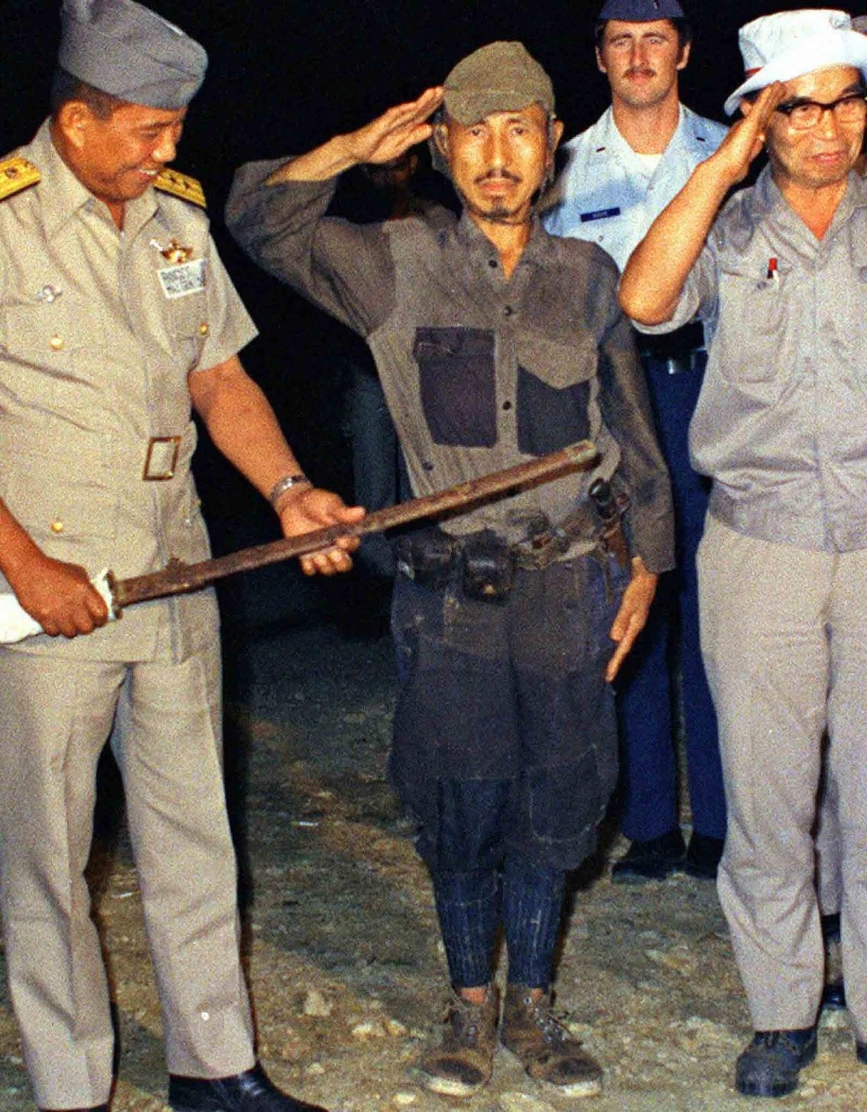 Hiroo Onda saluting. 1974.
