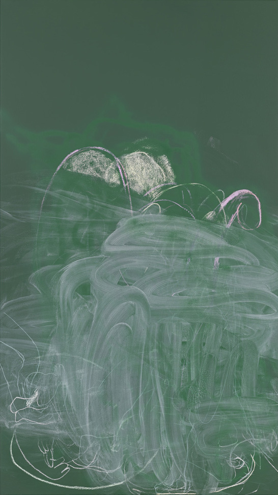 Rita Ackermann - Chalkboard Painting IV, 2013 - acrylic, spray paint and chalk on canvas