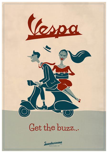 Get the Vespa Buzz Cool and Original A1 Vespa cartoon retro Poster Print