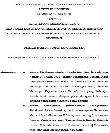 Permendikbud Nomor 51 Tahun 2018 Tentang PPDB TK, SD, SMP, SMA, dan SMK